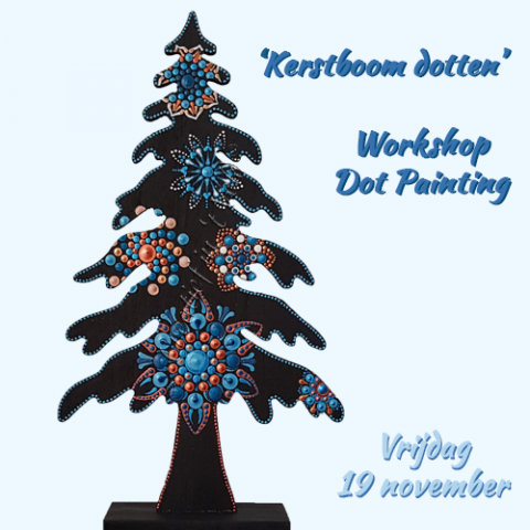 Kerstboom dotten | dot painting workshop | dot painting | Schoonhoven | Krimpenerwaard | Zuid-Holland | Utrecht | Gelderland | Noord-Holland | Brabant | creatief uitje | zussenuitje | vriendinnenuitje | kerstboom | kerstdecoratie | kerstkado